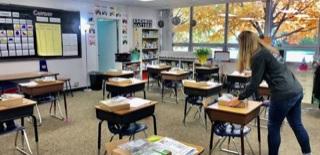 Empty School Desks Because of Coronavirus